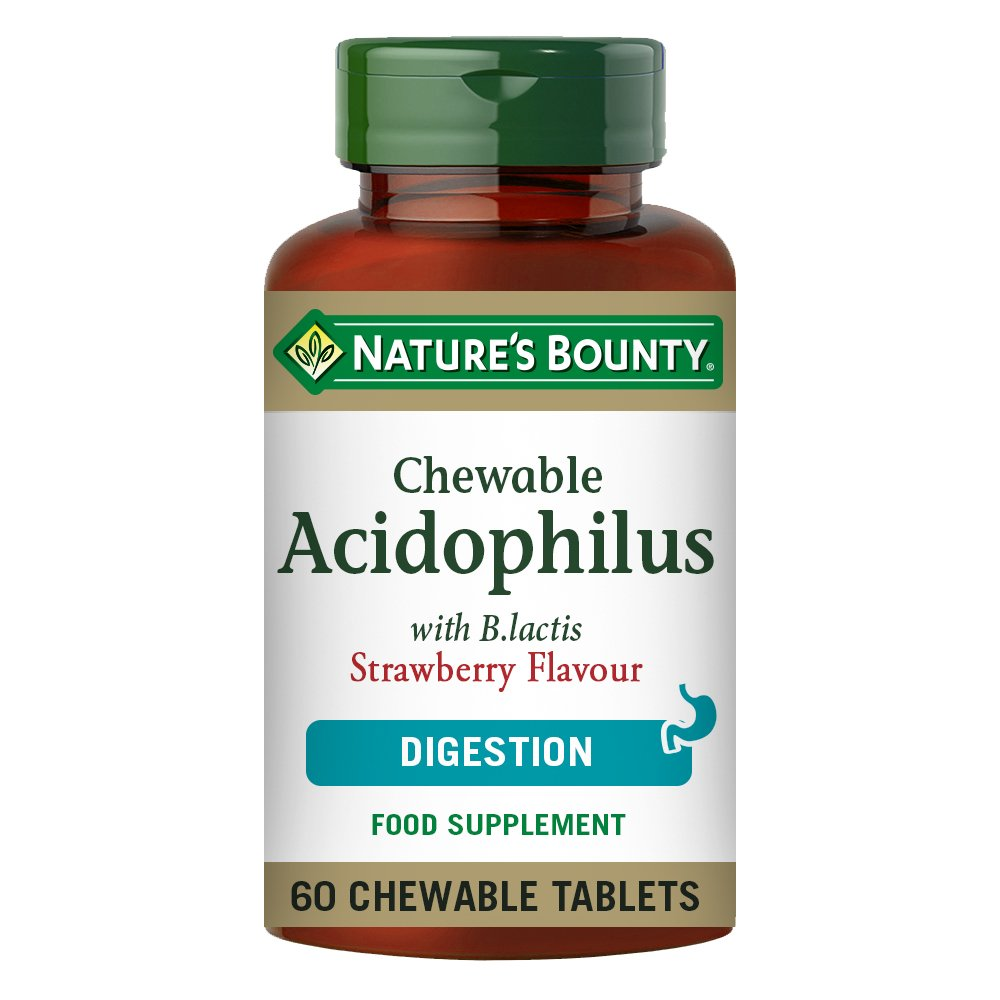 Nature's Bounty Chewable Acidophilus with B. lactis Strawberry Flavour Chewable Tablets - Pack of 60