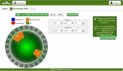 Ipdomo - Termostato Wi-Fi (Internet), para smartphones y tablets: Amazon.es: Bricolaje y herramientas