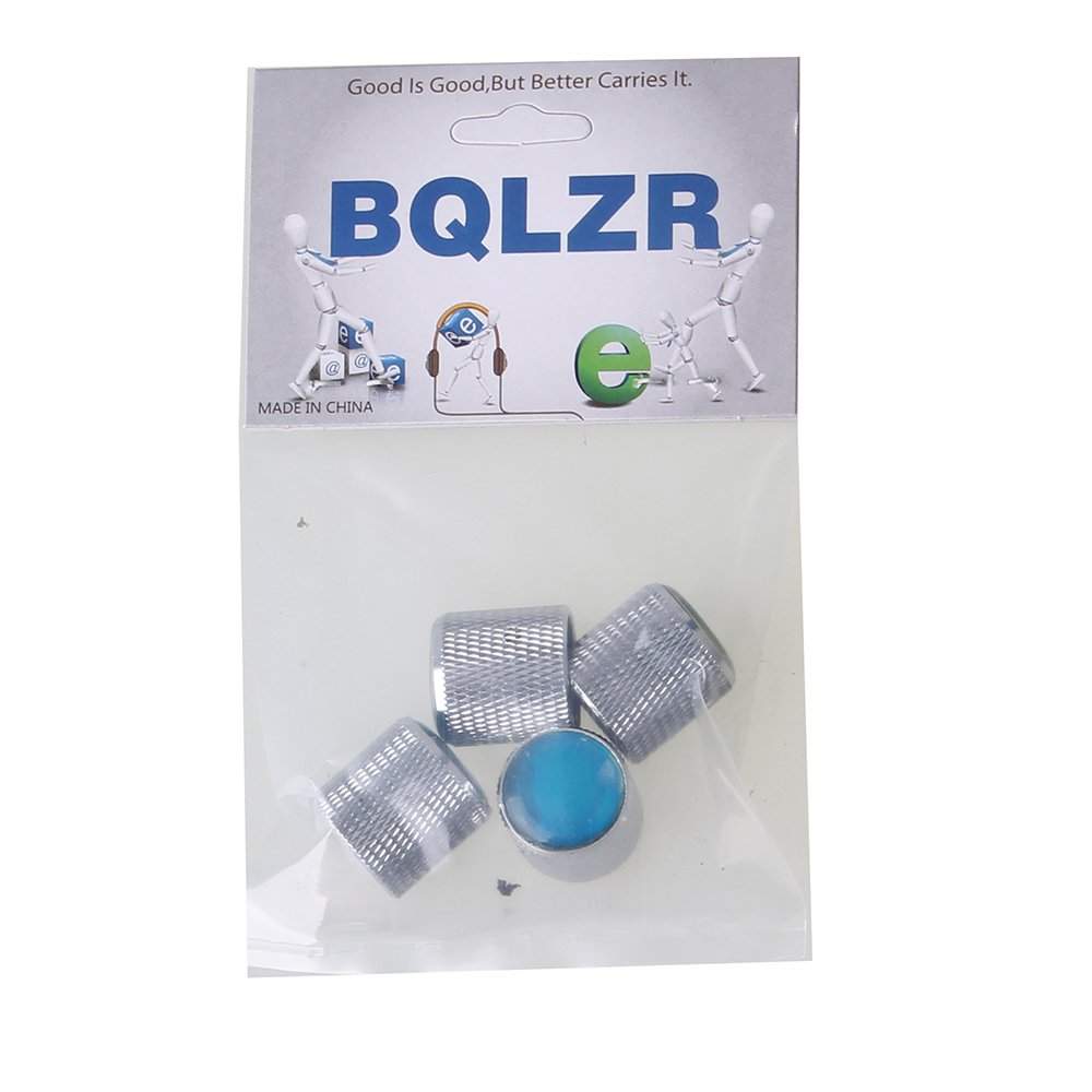 BQLZR Domed Volume Tone Control Metal Knob Silver With Blue Top Electric Guitar Pack of 4 N03634