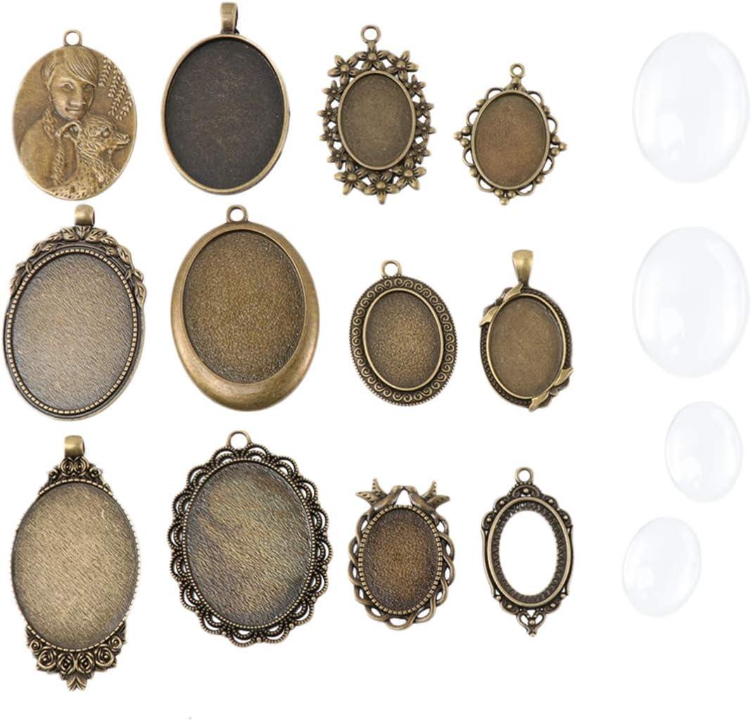 Healifty 12 Set di Vassoi Pendenti con Castone Ovale con Cupola in Vetro Cabochon Tessere Trasparenti Cameo per Fai da Te Creazione di Gioielli Regalo 12 Set