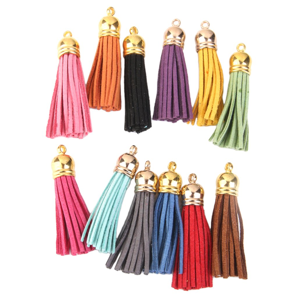 12Pcs Colorful Tassel Charms Pendants for Bags Key Chains DIY 5.5cm Generic AEQW-WER-AW146502