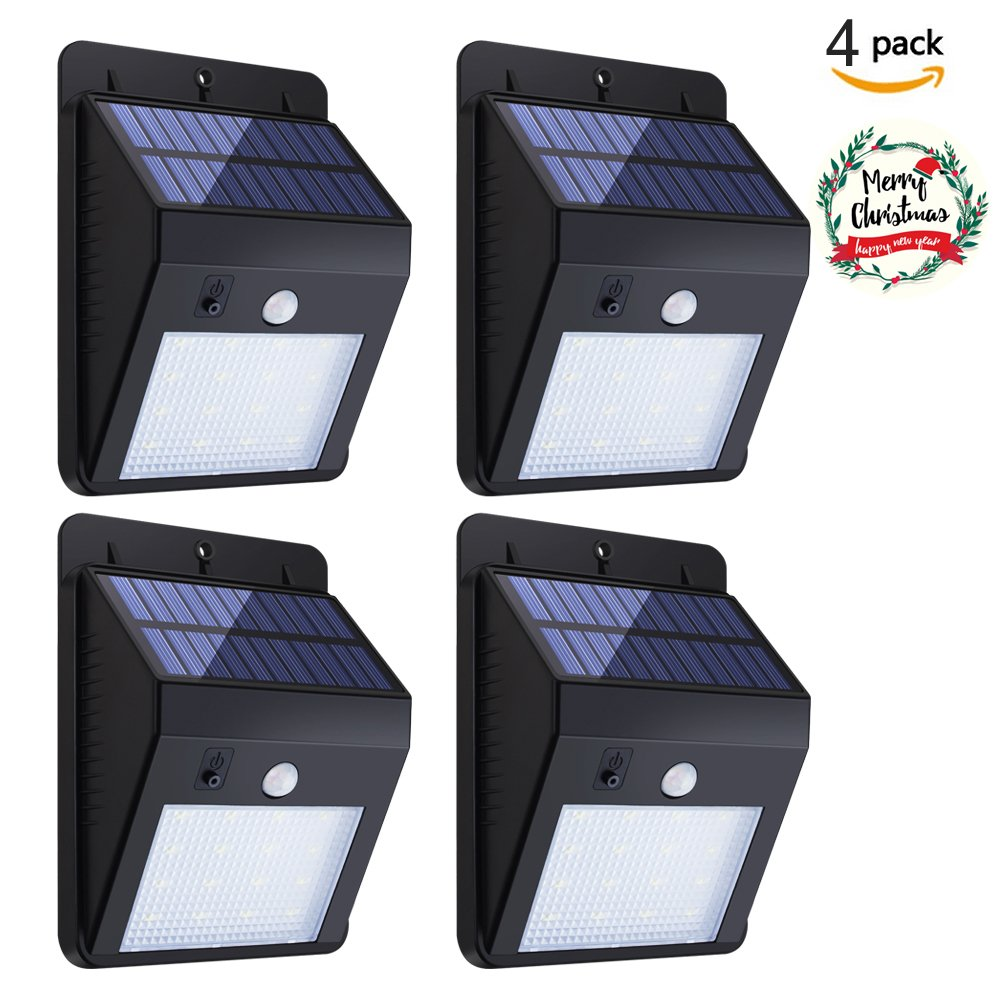 Solar Sensor Lights,KUMEDA Waterproof Motion Sensor Outdoor Light Super Bright 16 LEDs for Patio, Deck, Yard, Garden with Motion Activated Auto On/Off (4-Pack)