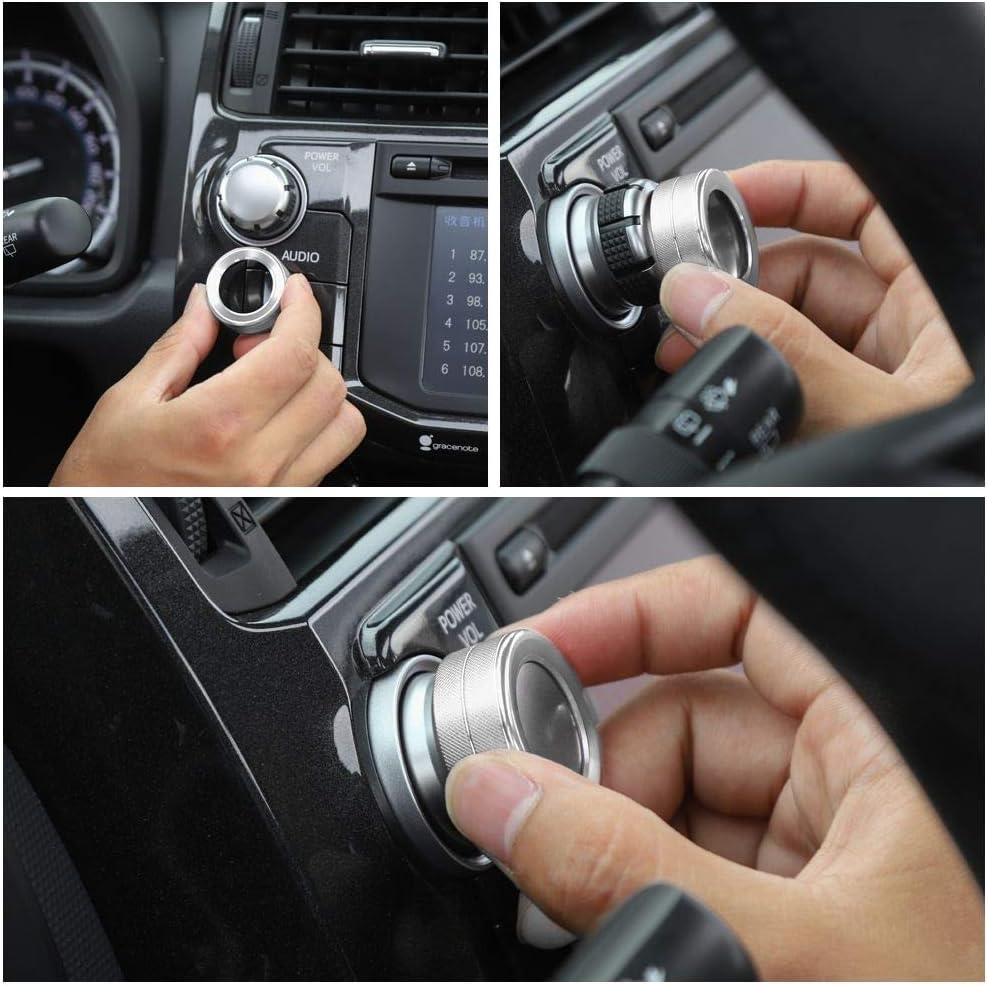 JeCar Audio Knob Cover Audio Switch Knob Decoration Aluminum Alloy 4Runner Accessory Trim for Toyota 4Runner 2010 2011 2012 2013 2014 2015 2016 2017 2018 2019 Silver 2Pcs