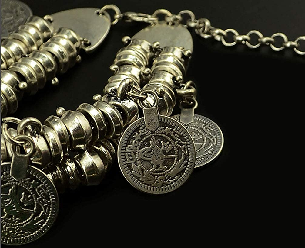 HUPLUE Bohemian Retro Bracelet Anklet Dual use Coin Drop Chain Alloy Jewelry
