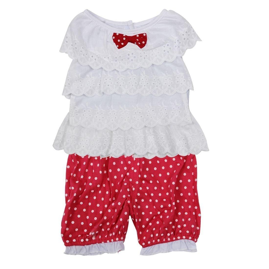 SODIAL(R) Bambino piccolo Ragazza Arruffato Maglietta Superiore+ dots Abbigliamento corto 2 pz Abbigliamento per vestiti -rosso, 80 045815C2