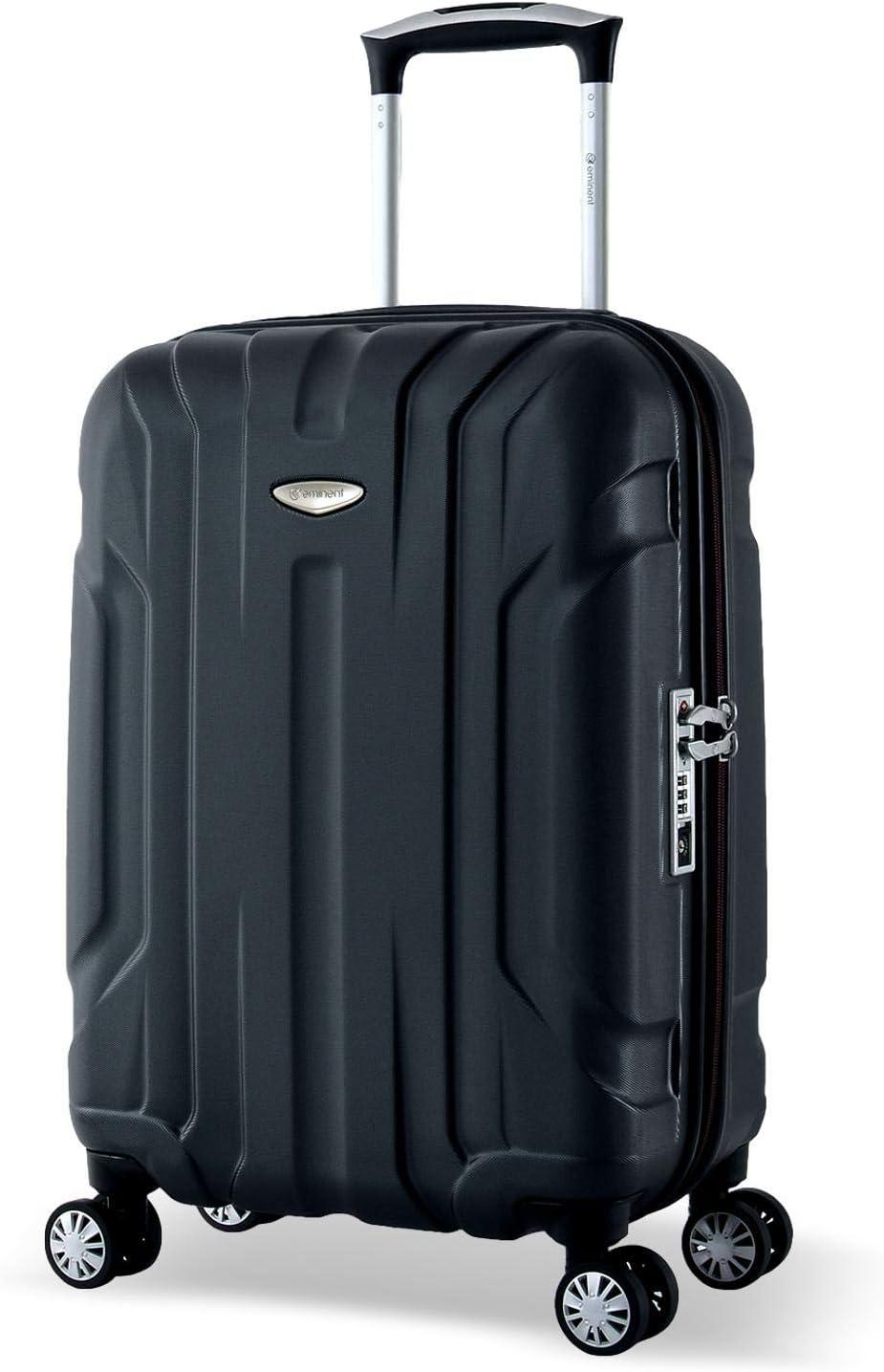 Eminent Maleta Cabina X-Tec 55cm 40L Ultra Ligera con 4 Ruedas multidireccionales Policarbonato Rígido, Candado TSA & Mango telescópico Negro