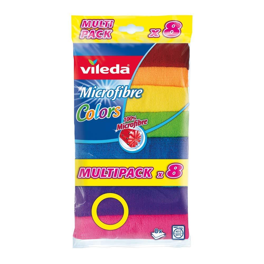 Vileda - Set de 8 bayetas Microfibras Colors, colores variados, 30 x 30 cm