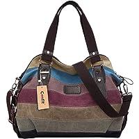 Borsa Donna, Coofit Borse a Mano Borse Tela Borse Tracolla Multi Colore Strisce Borse a Spalla Borsetta Messenger Bag