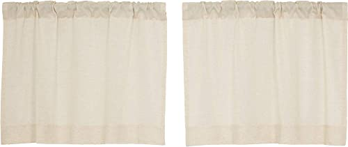 Brooke Simple Tier Curtains, Set of 2, 24 Long, Natural Cream Linen Linen Cotton Blend, Modern Country Urban Farmhouse Style Caf Kitchen Curtains, Bathroom, Dining Room