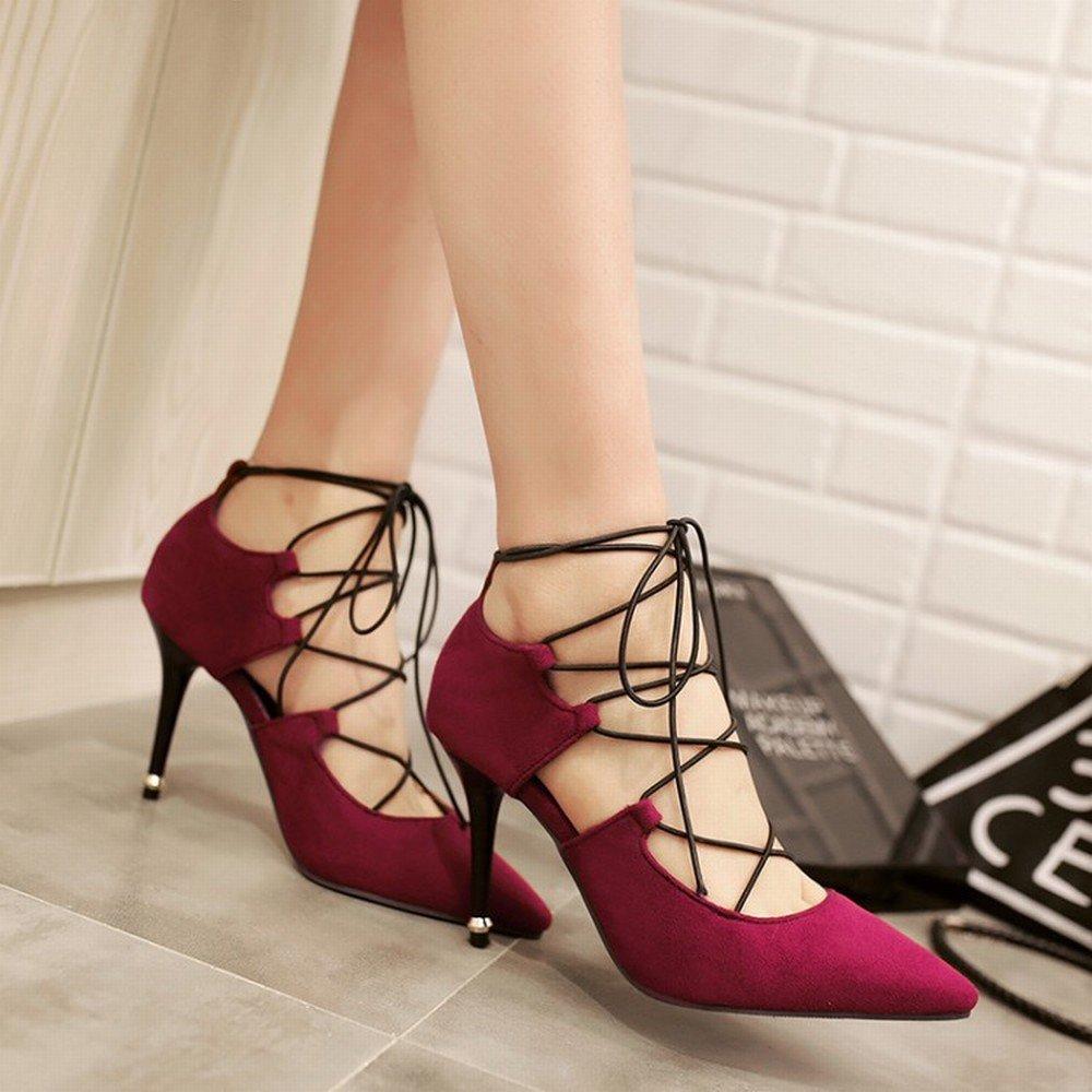 CXY Lace-up-Frauen 'Wies Spitze Wildleder Schuhe mit Hohen Absätzen Große Größe Größe Große 40-47 Meter Kleinen Code 32-33 Yards 8-22,Rot,39 - 9740e3