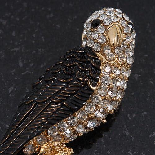 Exotic Diamante Enamel /'Parrot/' Bird Brooch In Gold Plating 7cm L