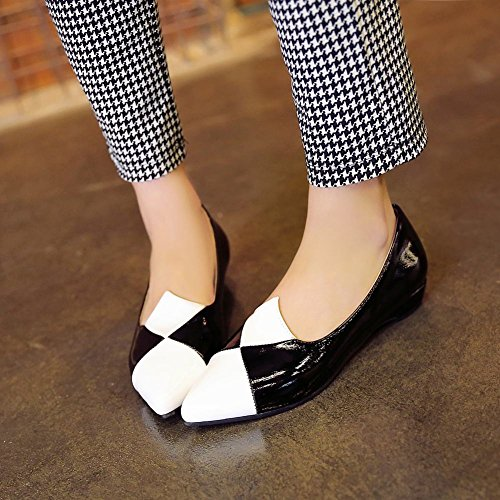 Show Shine Damesmode Assorti Kleuren Puntschoen Instappers Schoenen Zwart