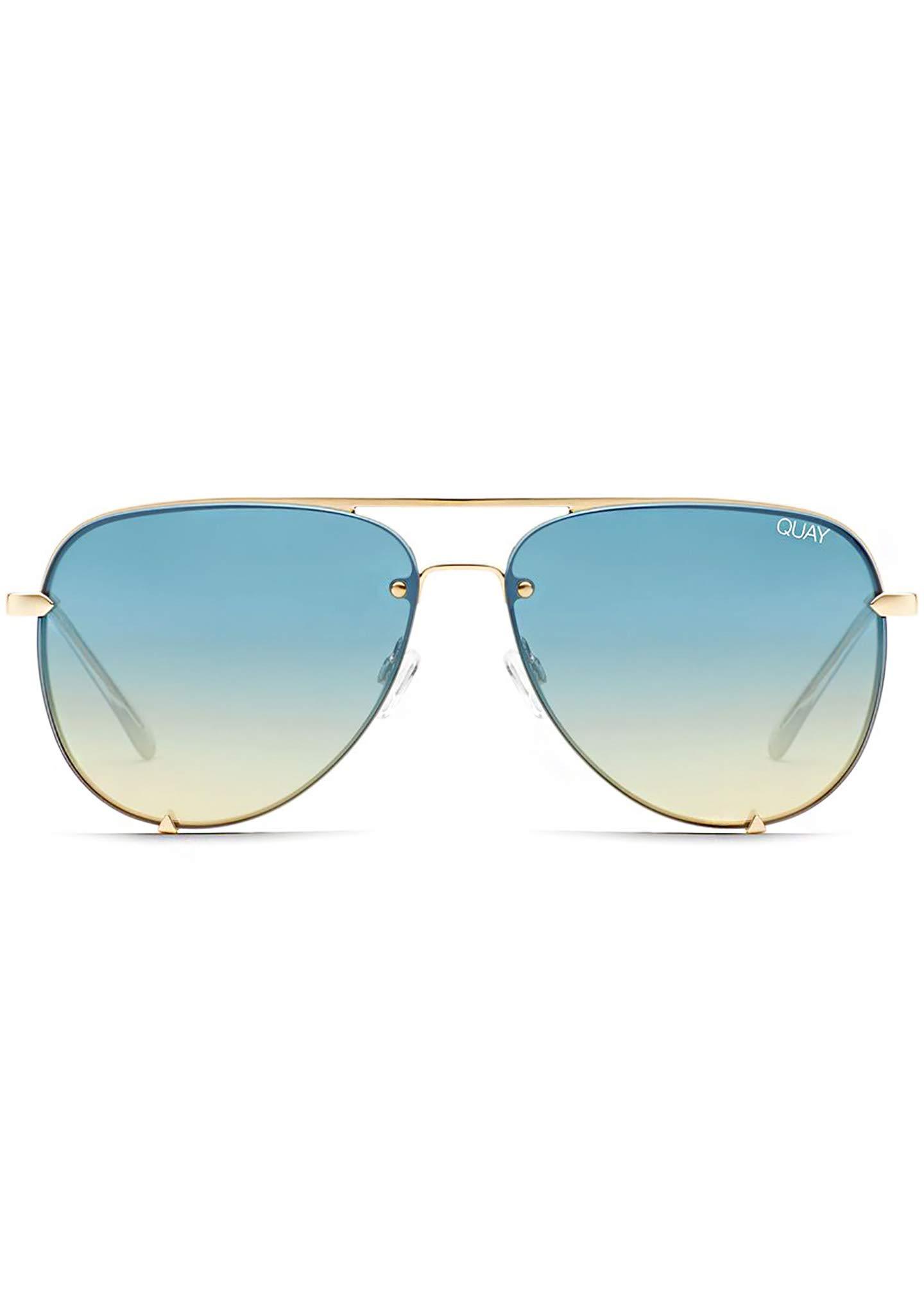 Quay Australia X Desi Perkins HIGH KEY RIMLESS Sunglasses in Gold Blue/Teal, Womens, One Size