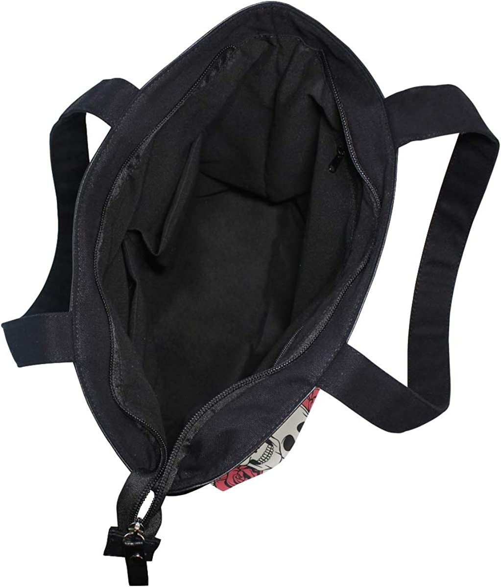 Women Large Tote Top Handle Shoulder Bags Funny Skull And Flower Satchel Handbag