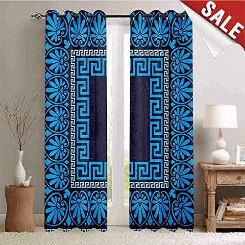 Hengshu Greek Key Window Curtain Drape Grecian Meandros Pattern with Intricate Lines Floral Figures in Blue Shades Customized Curtains W96 x L96 Inch Blue Dark Blue