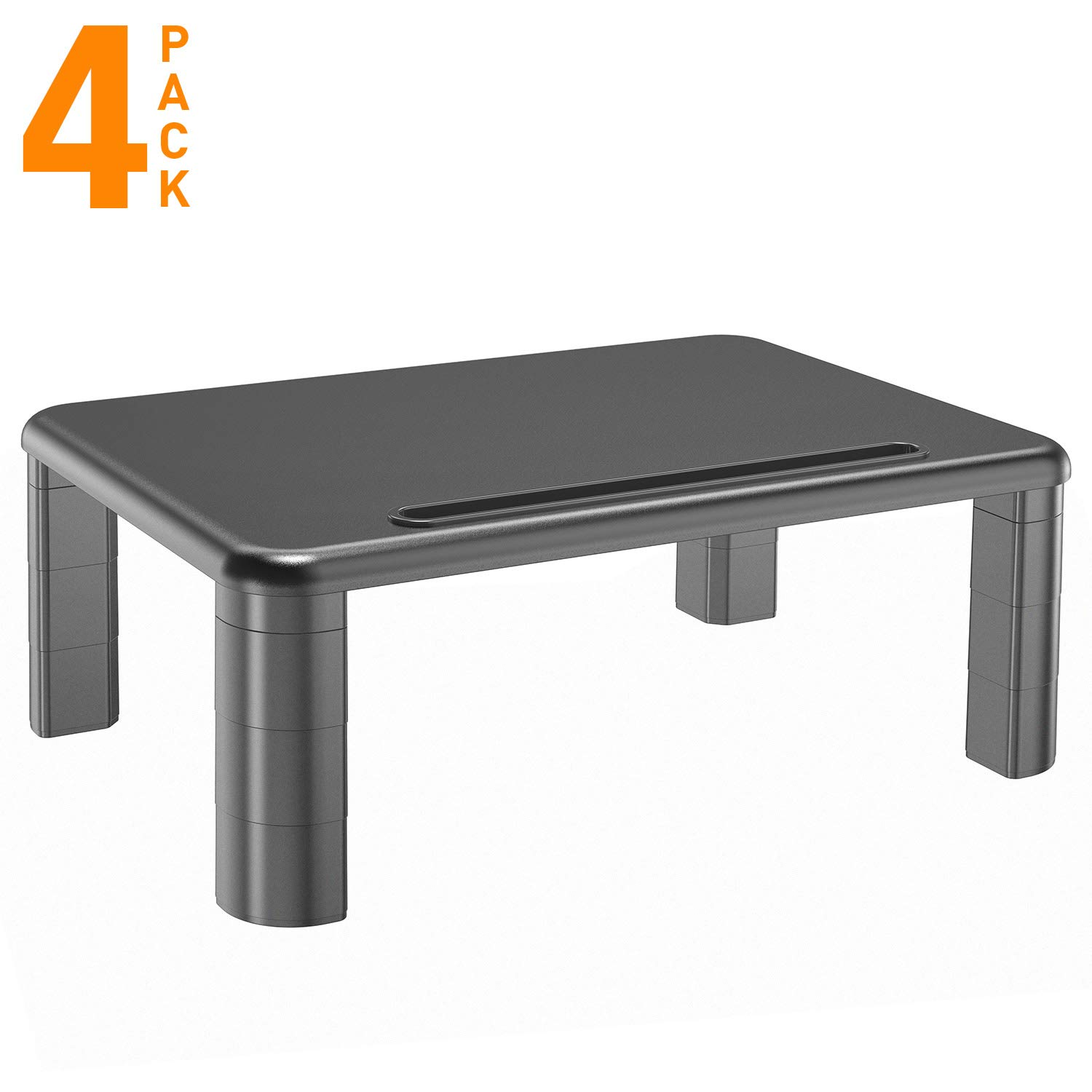 Monitor Stand Riser with Vented Metal for Computer, Laptop, Desk, iMac, Printer with 14.5 Platform 4 inch Height (4 pack, Black)