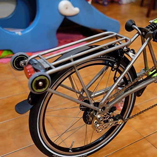 Soporte trasero ligero para BROMPTON en plata + 2 ruedas fáciles ...