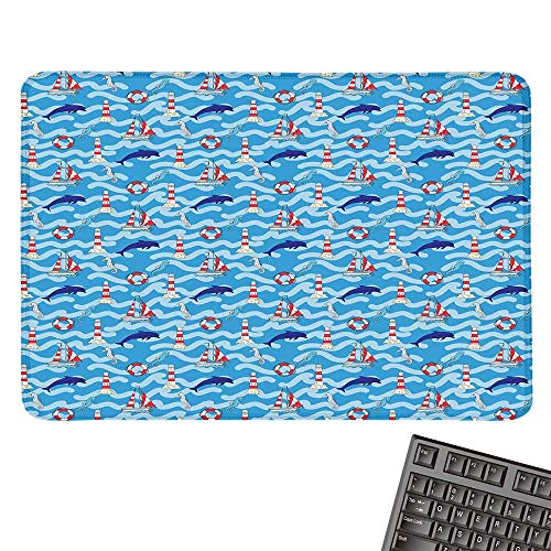 Lighthouselarge Mouse padWavy Lines Aquatic Elements Dolphins Seahorses and Boats Marine SummerComfortable Mousepad 15.7