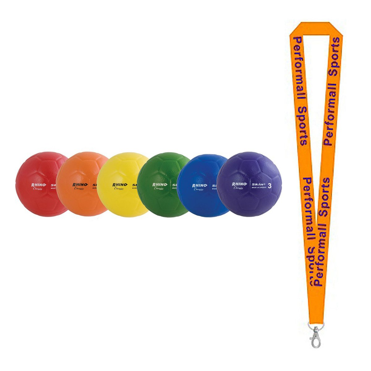 Champion Sports Rhino Skin Ball Set Assorted (Set of 6) with 1 Performall Lanyard RS73SET-1P by Performall Sports Dodgeballs