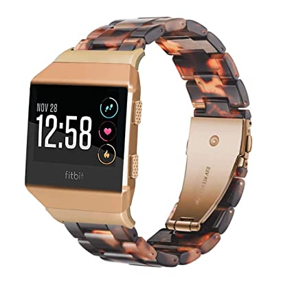 Ayeger Resin Band Compatible with Fitbit Ionic,Women Men Resin Accessory Band Wristband Strap Blacelet for Fitbit Ionic Smart Watch Fitness (Tortoise)