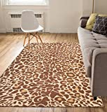Well Woven Cappuccino Leopard Brown 5x7 (5'3'' x 7'3'') Casual Animal Print Thin Value Area Rug Perfect for Living Room Dining Room Family Room