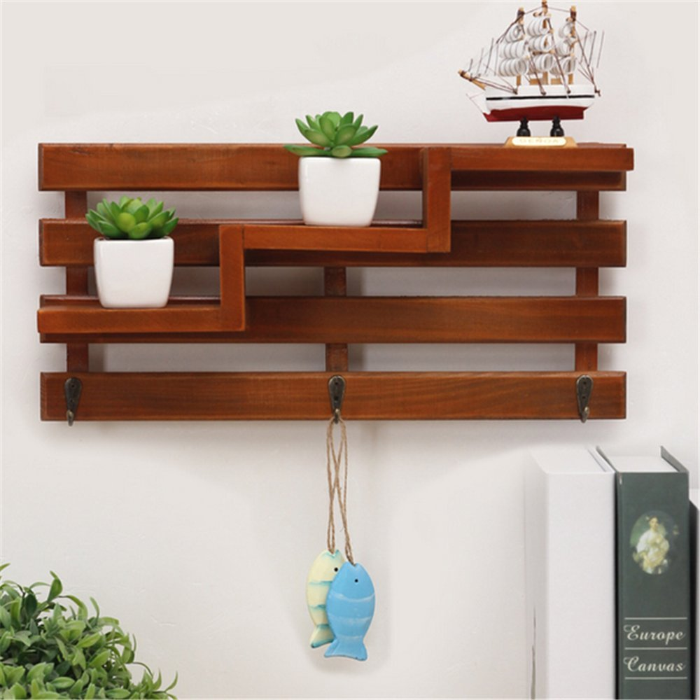 Chris.W Wall Mount Wooden Shelf with 3 Key Hooks / 3-Tier Mini Flower Pot/Planter/Doll/Beauty Supplies Rack for Hallway/Kitchen/Bathroom/Office Supplies Organizing Displaying by Chris.W (Image #1)