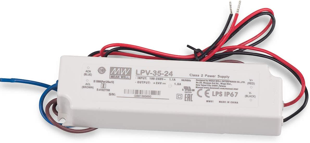 LED Fuente de alimentación 36W 24V 1,5A ; MeanWell, LPV-35-24