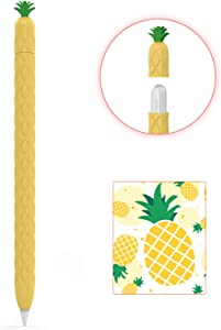 AhaStyle Cute Fruit Design Case Sleeve for Apple Pencil 2nd Gen, Silicone Soft Protective Cover Accessories Compatible with Apple Pencil 2nd Generation, iPad Pro 11 12.9 inch (Yellow)