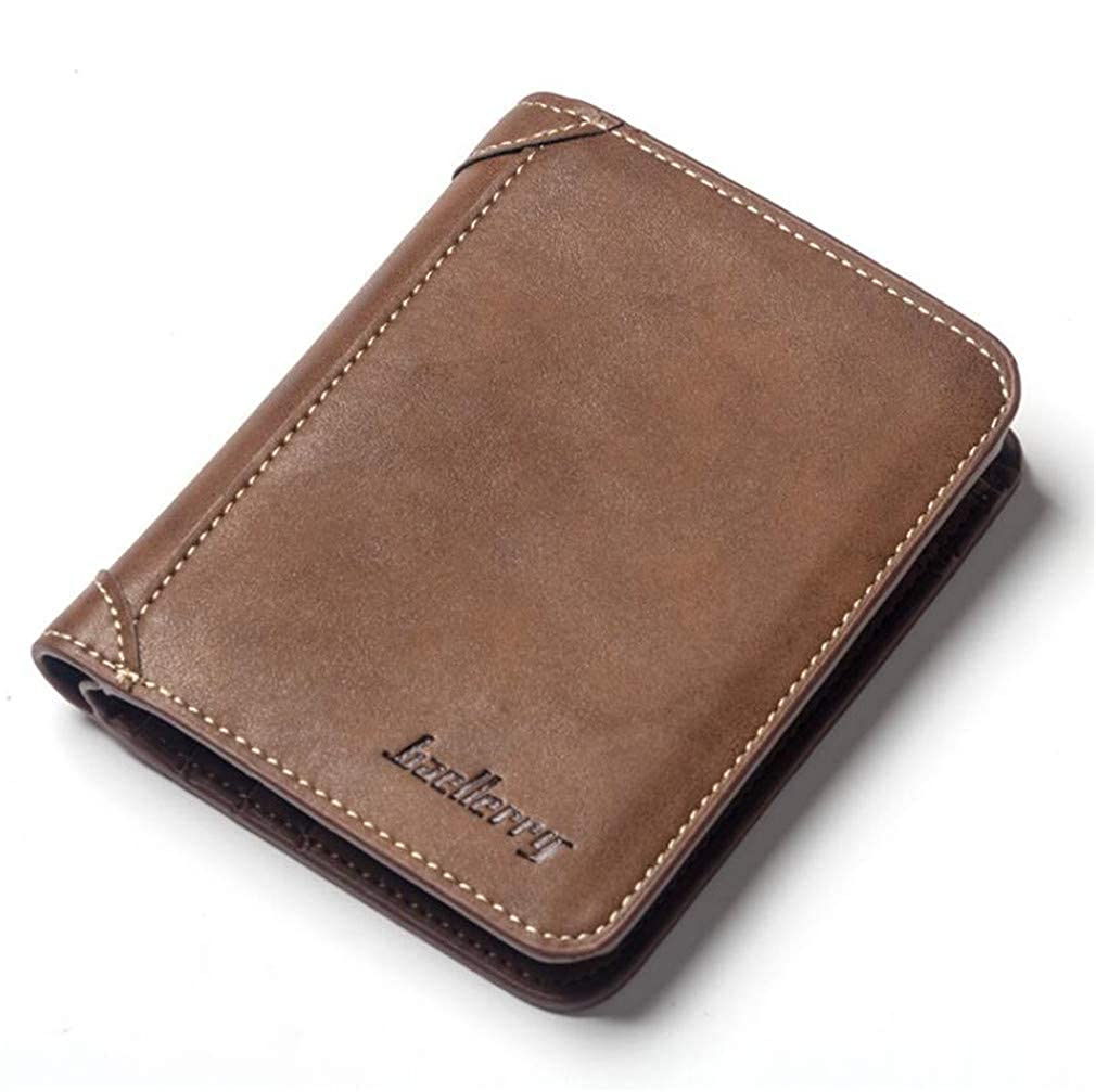 Youngate Mens Thin Trifold PU Leather Wallet Credit Card Holder Money Clip