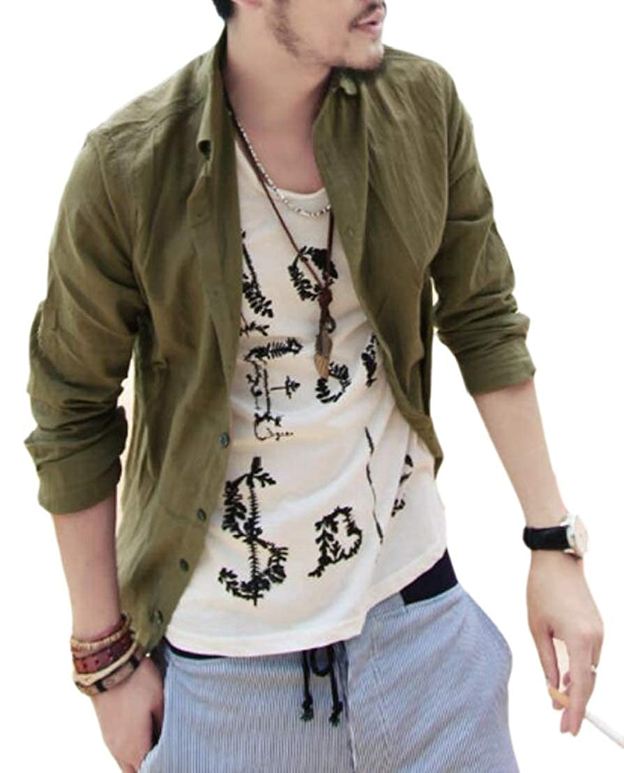 GenericMen Casual Solid Button Up Cotton Linen Slim Fit Long Sleeve Dress Work Shirt