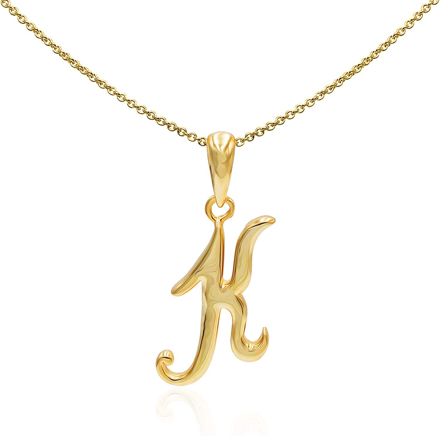 Sea of Ice Sterling Silver Initial Alphabet Letters Pendant Necklace from A-Z, 18 inch
