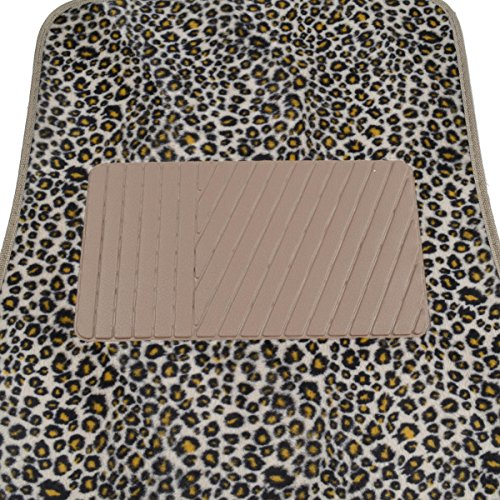 bdk carpeted 4 piece mat safari animal print auto car vehicle universal fit cheetah vehicles. Black Bedroom Furniture Sets. Home Design Ideas
