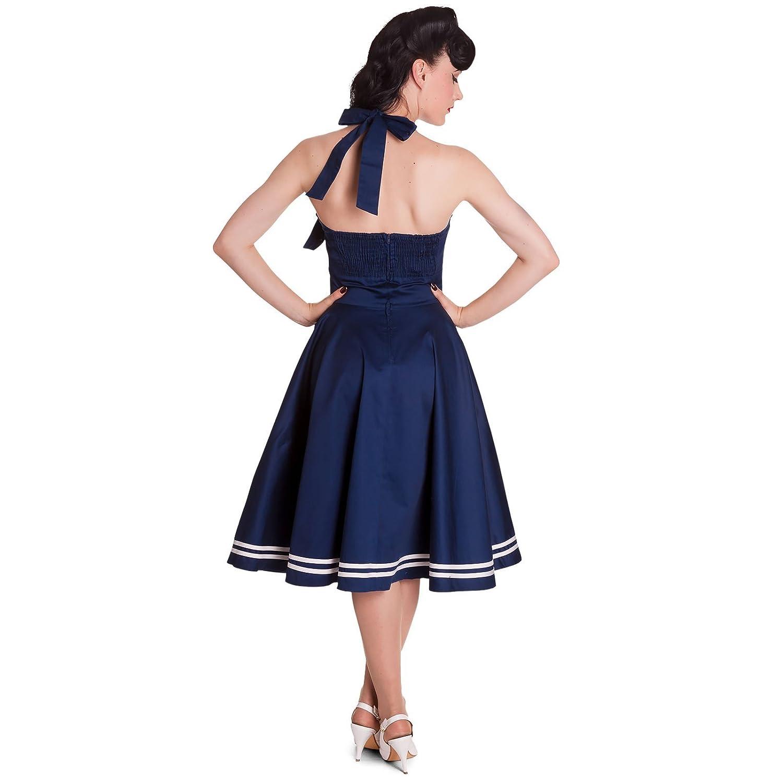 Hell Bunny - Motley 50s Dress Rockabilly Vestido Azul/Blanco sin Petticoat (XS - XL): Amazon.es: Ropa y accesorios