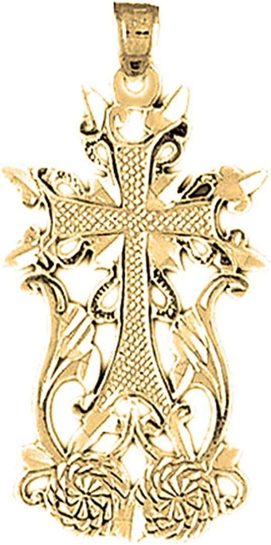 14K Yellow Gold-plated 925 Silver Fleur de Lis Cross Pendant Jewels Obsession Silver Fleur de Lis Cross Pendant