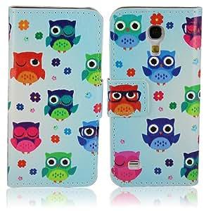 Samsung Galaxy S4 mini i9190 i9195 PU-LEATHER OWL GLASSES GOGGLES Design FLIP stand cover protección-móvil casos Flip bag Cover thematys®