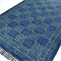 Eyes of India - 4 X 6 ft Indigo Blue Cotton Block Print Area Accent Dhurrie Rug Flat Weave Woven Boho Chic Indian Bohemian