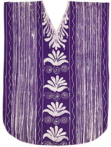 LA LEELA Plus Size Batik Caftan Dress for Women Long Violet_A910 OSFM 14-18W (Batik Caftan Dress)