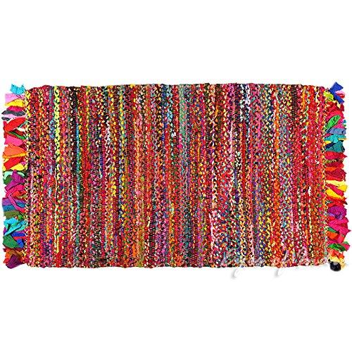 Eyes of India - 3 X 5 ft Colorful Woven Chindi Rag Rug Indian Bohemian Boho Decorative by Eyes of India (Image #2)