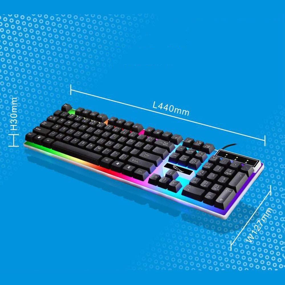 USB Wired Keyboard Blacklit Noiseless RGB Gaming Keyboard with 102 Keys for PC Laptop