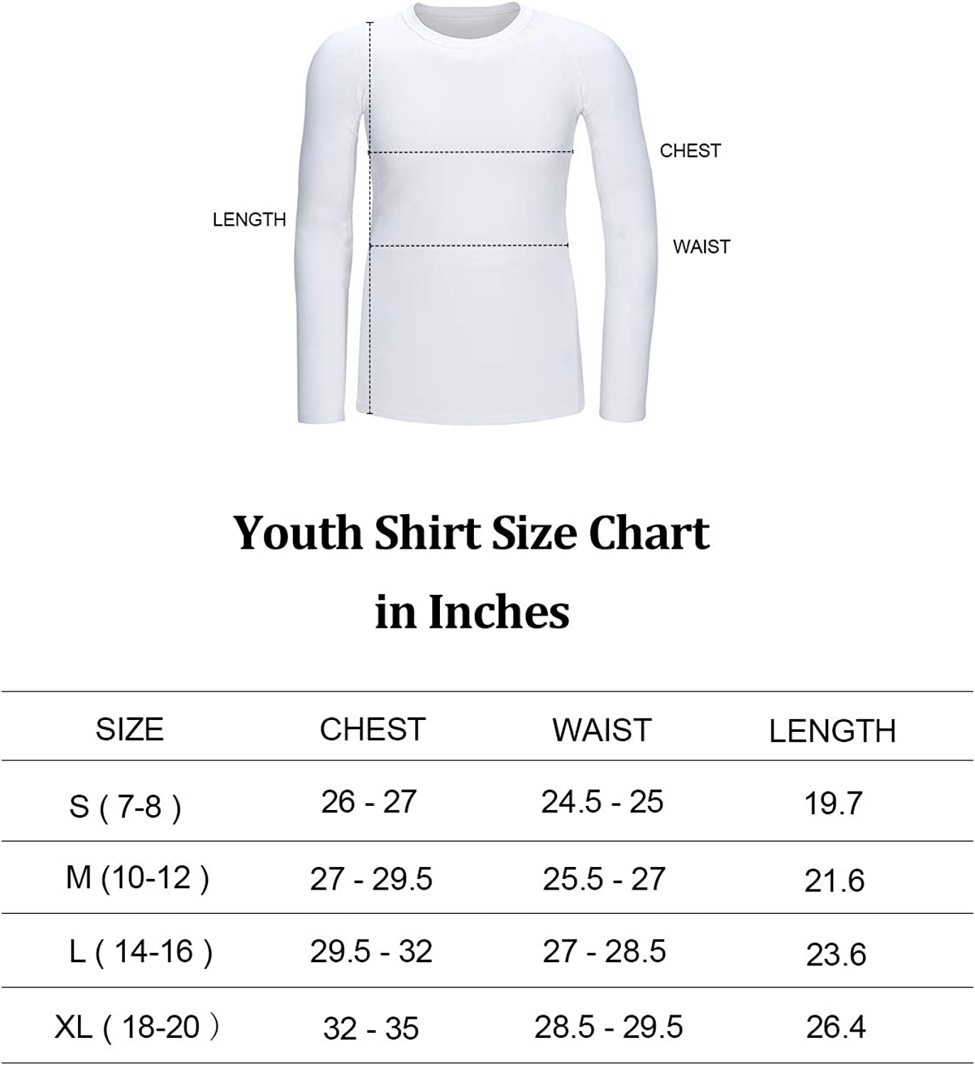 XL Size S TAIBID Youth Boys Compression Thermal Shirt Fleece Base Layer Long Sleeve Soccer Baseball Top