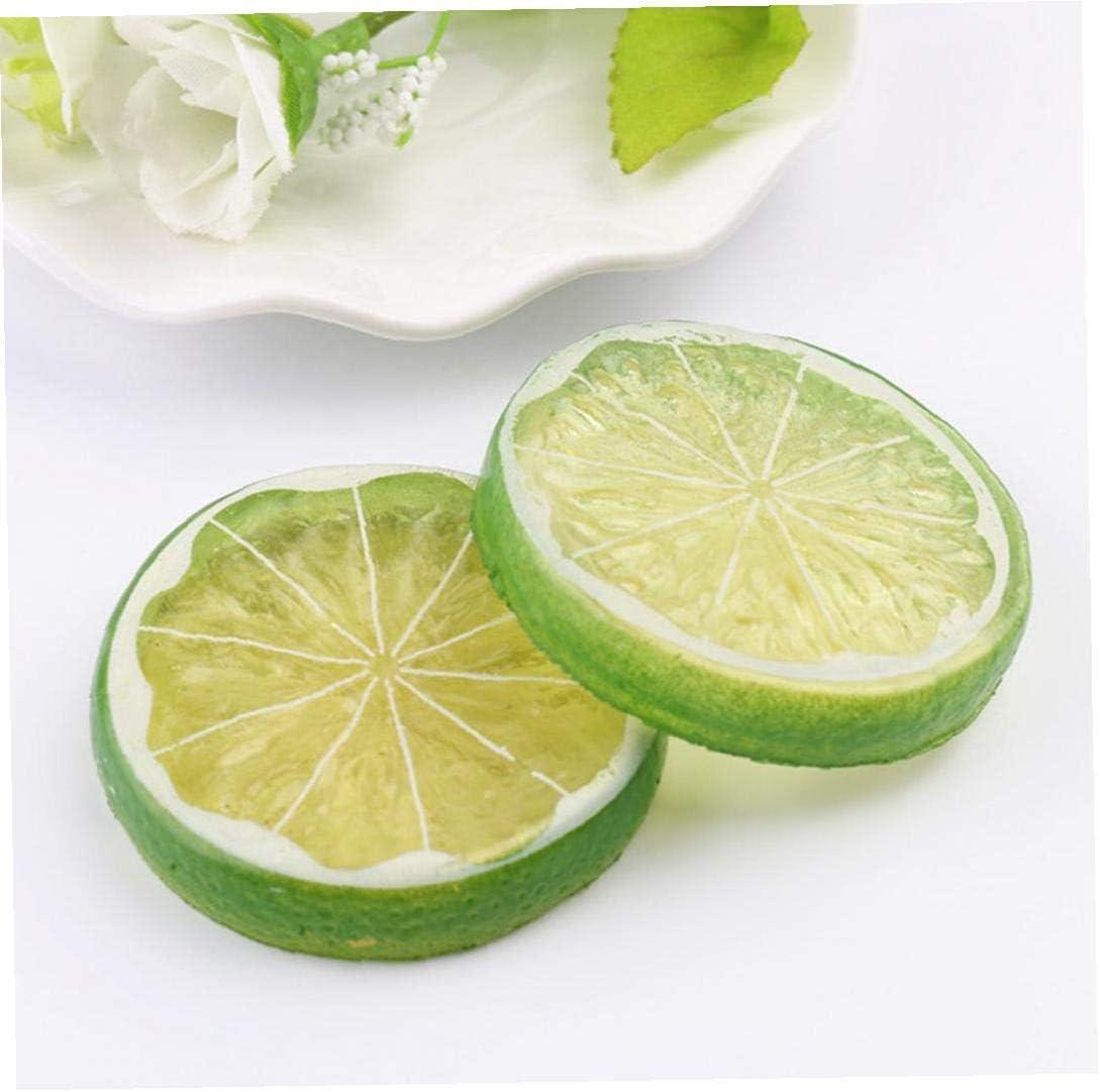 6 Pcs Artificial Lemon Slices Highly Simulation Lemon Slice Artificial Plastic Lifelike Fruit Model Home Party Decoration Yellow Green Orange