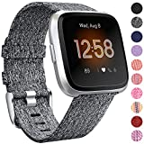 NANW Bands Compatible with Fitbit Versa/Versa 2, Versa Lite Edition Bands Small Large, Woven Fabric Accessories Strap Wristband Replacement Women Men Compatible with Fitbit Versa 2 Smartwatch