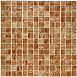 SomerTile GDRCOTAG Fused Glass Mosaic Wall Tile, 12'' x 12'', Brown/Tan/White/Copper/Gold