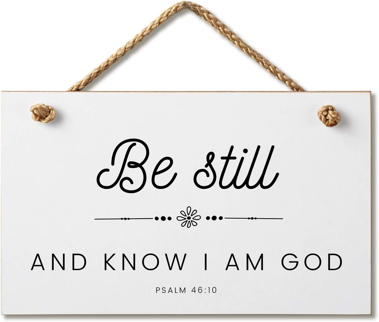 Marvin Gardens Designs Farmhouse Style Bible Verse Wall Decor Wood Sign 9.5 x 5.5 Inch Wood Made in The USA (Be Still (White), 9.5 x 5.5)