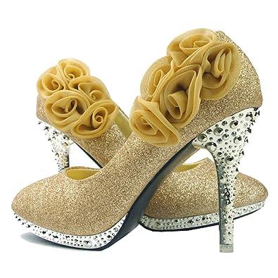 6e3ee8422 getmorebeauty Women's Gold Sequin Rose Lace Flower Dress High Heel 5 B(M) US