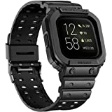 amBand Compatible for Fitbit Versa 2 Bands with Bumper Case, Protective Band for Fitbit Versa & Versa 2 & Versa Lite, Rugged Protector Replacement Strap Sport Military Watch Wristbands Black
