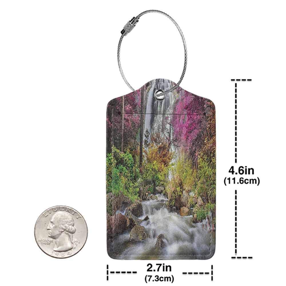 Multi-patterned luggage tag Waterfall Decor Collection Colorful Forest Bush Feigned Stream Trees Grass Photography Double-sided printing Magenta Green Ivory W2.7 x L4.6