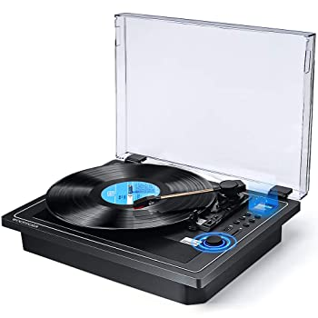 Record Player Turntable with Speakers Wireless in & Out Record Player Built in Stereo Speakers Vinyl Records 3 Speed