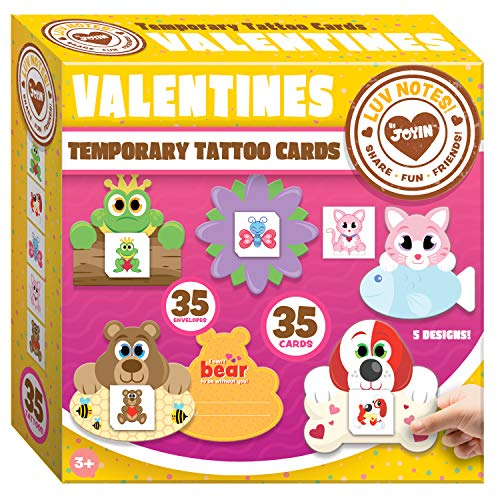JOYIN 35 Packs Valentines Day Gifts Cards for Kids with Animal Themed Temporary Tattoos Valentine Classroom Exchange Cards Valentine Party Favor Toy -