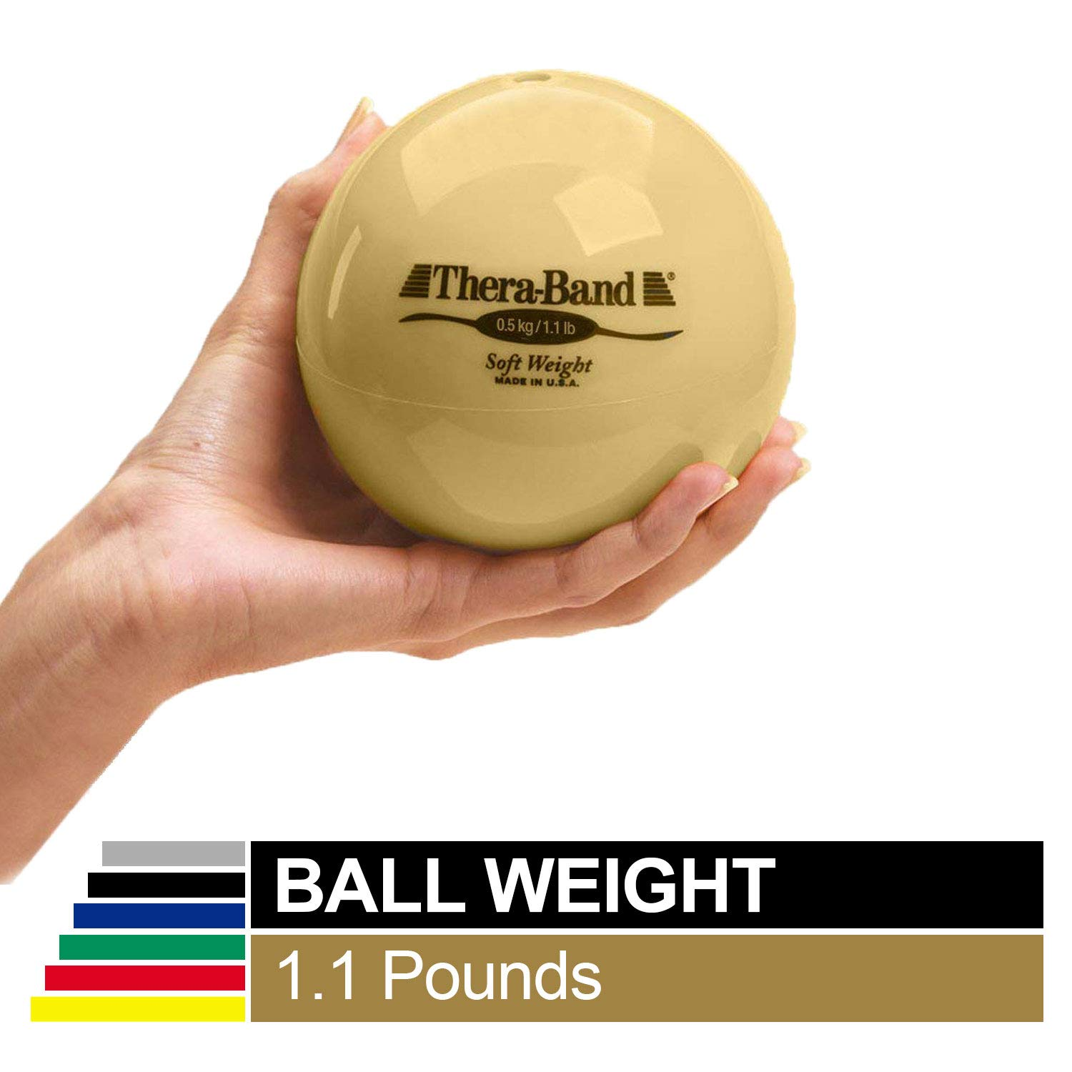 Biofreeze Soft Weight, Hand Held Ball Shaped Isotonic Weight for Strength Training Rehab Exercises, Pilates, Yoga, Toning Workouts, Home Exercise Equipment Balls, 4.5 Diameter, Tan, 1.1 Pound